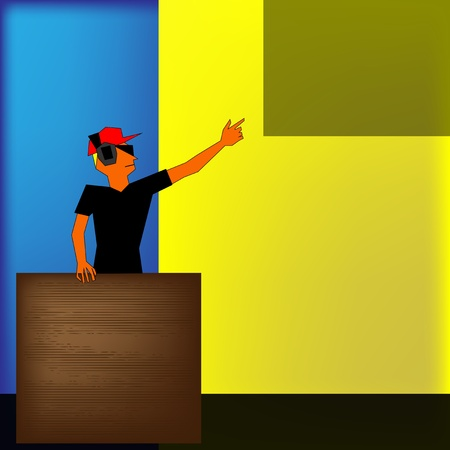 Background illustration for a music performance with a styalized DJ Vector