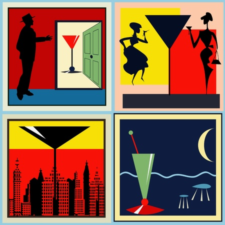 A set of Retro Cocktail labelsbackgrounds for a 1950's style bar Vector