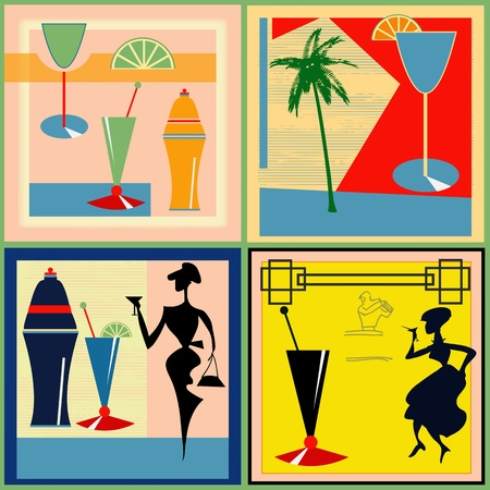 A set of vector Retro Cocktail labelsbackgrounds for a 1950s style bar Vector