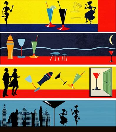overnight: Una serie di illustrazioni Retro Web Auto di consegna Banner Vettoriali