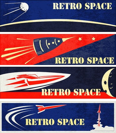 A set of Retro Space Web Banner Illustrations Vector