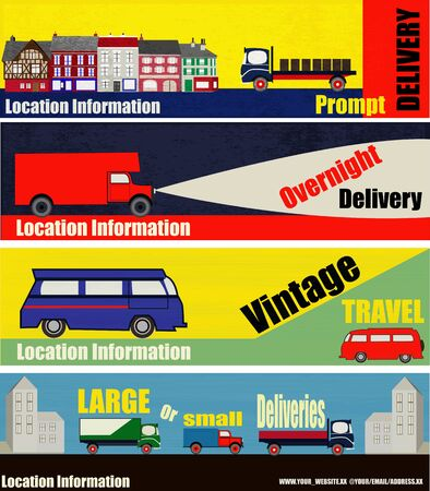 A set of Retro Auto Delivery Web Banner Illustrations Vector