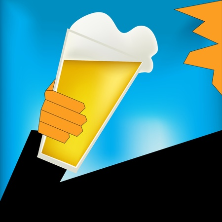 art deco background: Background illustration in an Art Deco style with a man drinking a glass of beer
