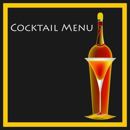 A vintage deco style Cocktail Bar Menu Template illustration