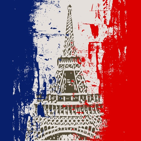 French Flag with Eiffel Tower Illustration