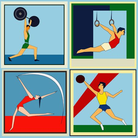 A set of retro style labels featuring indoor athletics sports Vector
