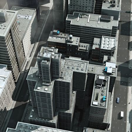 topdown: Urban Rooftops, aerial view of a 3d City Render