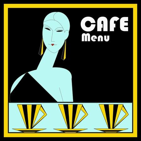 A vintage art deco style  Cafe Menu Template illustration