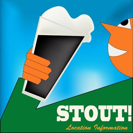 cerveza negra: Ilustraci�n de fondo en estilo Art Deco con un hombre con una chaqueta verde de beber un vaso de cerveza negra