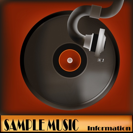 78 rpm: Background illustration of a vintage gramaphone and record