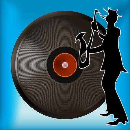78 rpm: Background illustration of a vintage vinyl record and saxophone player Illustration