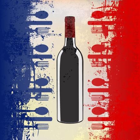 cuisine fran�aise: Un mod�le de menu avec une bouteille de vin sur un drapeau fran�ais grunged