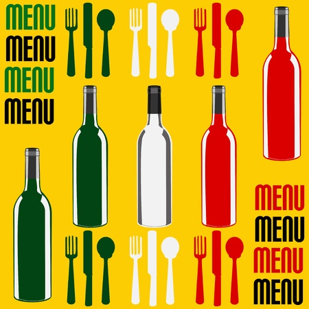 Menu template illustration with a wine bottles in the colours of the flag of Italy Vector
