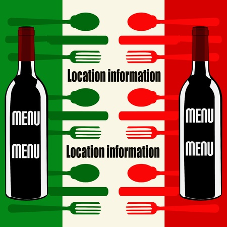 Italian Menu template over a flag of Italy
