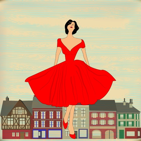 Background illustration of a Girl  in red 1950's style dress in front a traditional high street Vectores
