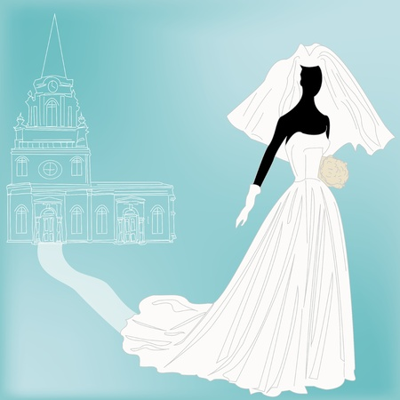 A bride and church for a 1950's retro Wedding invitation or Dress shop flyer Stock Vector - 13223057