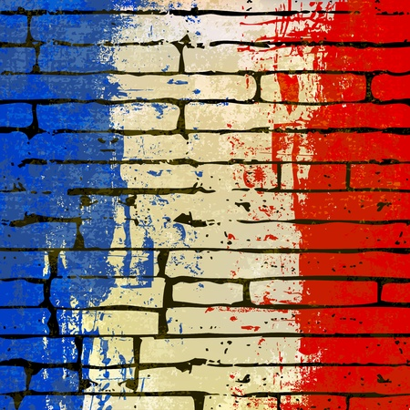 Grunged French Flag over a brick wall  background  illustration Vector