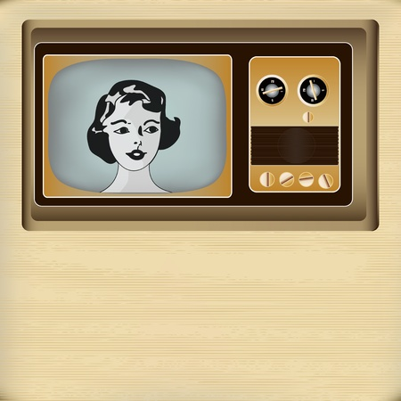 Background illustration of a vintage television with a young womans head on a paper texture Vector
