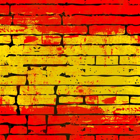 grunged: Grunged Spanish Flag over a brick wall  background  illustration
