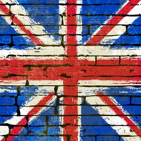 Grunged British Union Jack Flag over a brick wall  background  illustration
