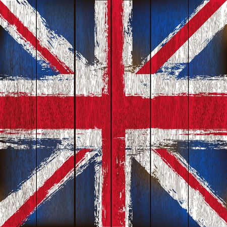 Grunged British Union Jack Flag over a wooden plank  background  illustration Vector