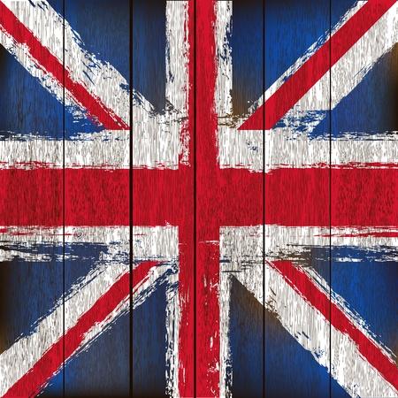 union jack: Grunged British Union Jack Flag over a wooden plank  background  illustration Illustration
