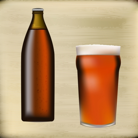 cerveza: Beer bottle and foaming glass on a paper texture background  Illustration