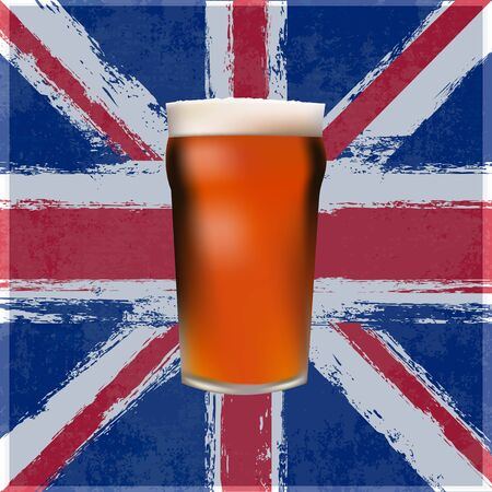 A pint of Bitter Beer over a grunged Union Jack Vector