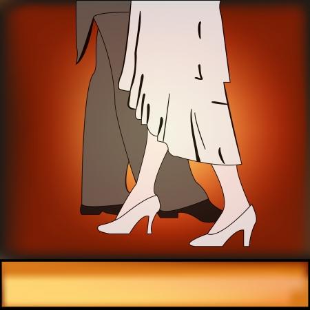 A vintage style Ballroom Dancing background illustration