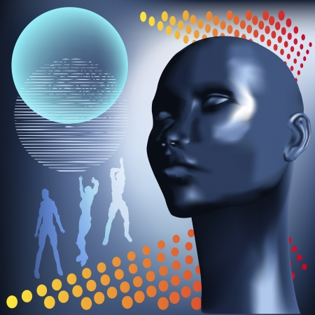 Background illustration with an electric blue female head for a Club or DJ Poster Vector
