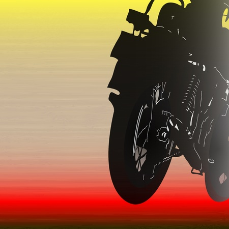 Background illustration with motorcycle disappearing at speed Vector