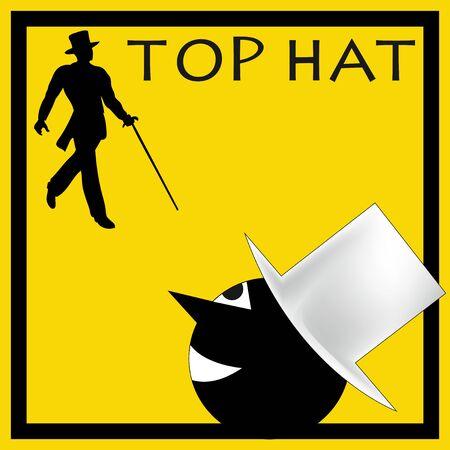 top hat: A vintage deco style  Top Hat Background illustration
