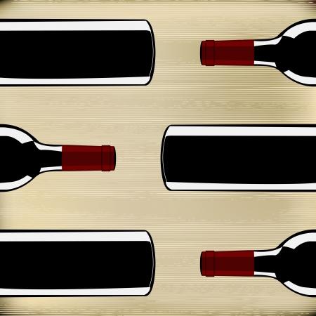 Bouteilles de vin sur un fond texture de papier pour un menu