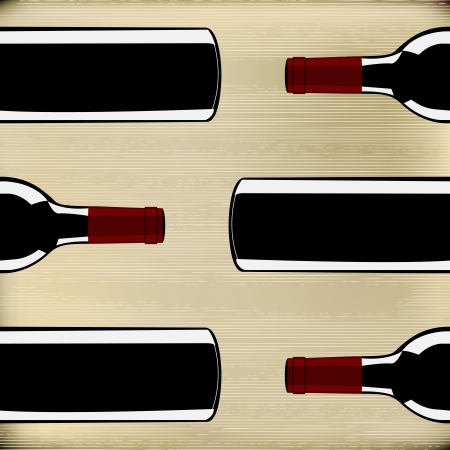 Wine Bottles on a paper texture background for a menu Vector