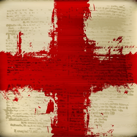 grunged: Blood Red Cross over grunged blurred antique text texture background