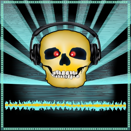 Background illustration of a DJ Posterwith a skull in headphones for a scary or Halloween set Vector