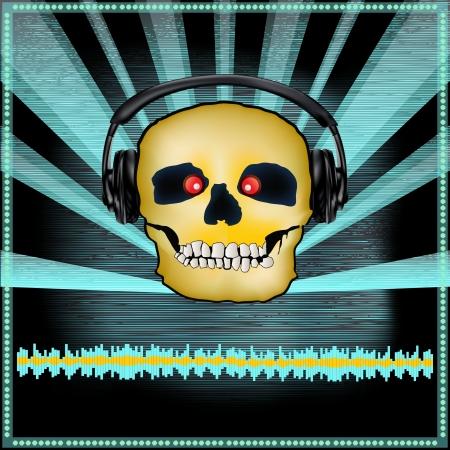 indie: Ilustraci�n de fondo de un DJ Posterwith un cr�neo en los auriculares de un conjunto de miedo o de Halloween