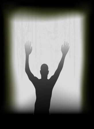 ghostly: Halloween Poster, with a ghostly apperition at a window