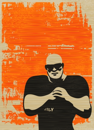 Doorman Poster, Bouncer on grunged paper background for an event or music gig