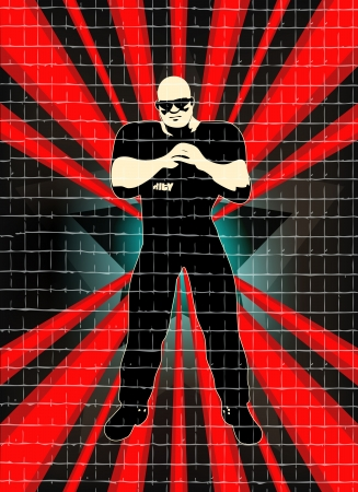 Background illustration for an indie night or DJ set Poster with caged doorman Vector