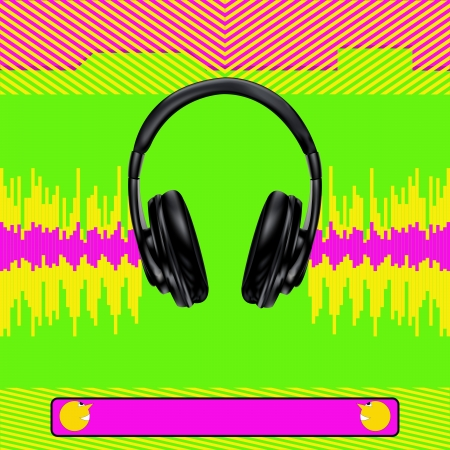 Background illustration with headphones and digital signal for a Club or DJ Poster Vector