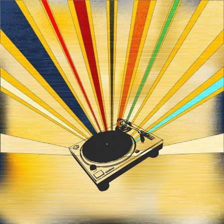 indie: Ilustraci�n de fondo en un estilo sovi�tico para pasar una noche indie o del cartel de DJ