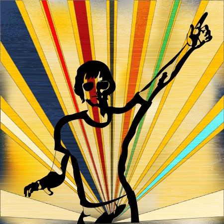 indie: Ilustraci�n de fondo en un estilo retro para una noche indie o del cartel de DJ Vectores