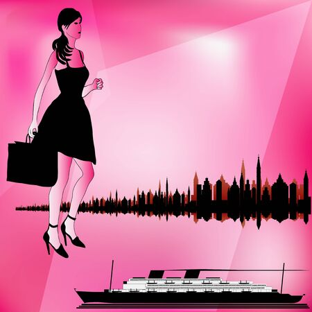 Illustration of a retro Cruise Liner and a city skyline with a stylish female traveler Stock Vector - 14297617