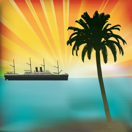 Vintage Sea Cruise, Tropical Background with a sunset and classic Steam Liner Vector