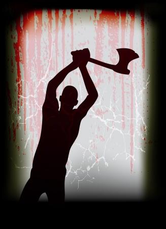 superstitious: Halloween Vector poster, con un uomo ascia fantasma in una finestra inondata di sangue