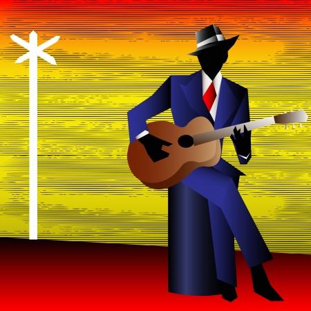 guitarristas: Guitarrista de blues en la encrucijada, de fondo de un Cartel del concierto o Flyer Vectores
