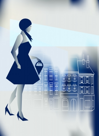 retail therapy: Artistic illustration of a Stylish girl going shopping in a blue city