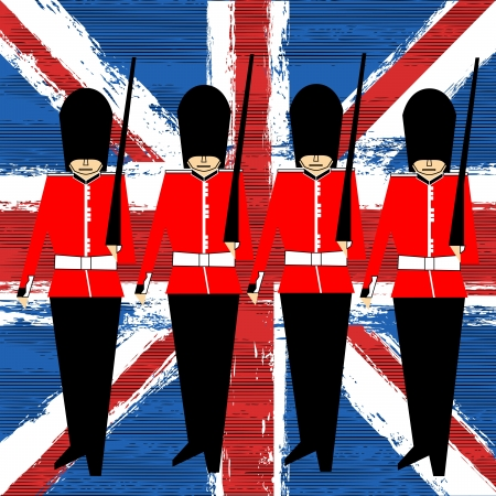 british army: Guardsmen Marching Over A Union Jack   Illustration