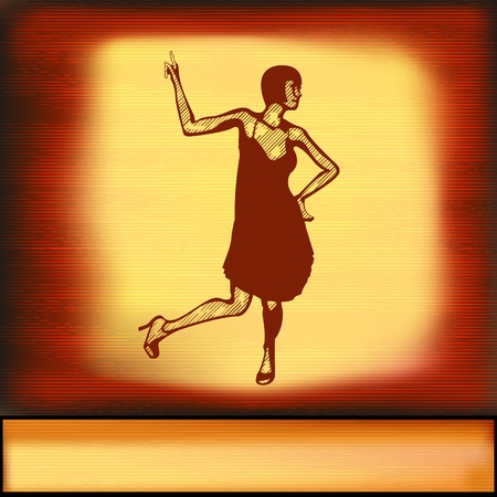 The Charleston, vintage background with a female dancer Vector